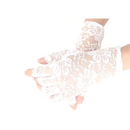 Women's Wrist Length Lace Half Finger Gloves 1980's Gothic Steampunk Womens Costume Accessory (White) (Gloves Length Wrist Fingerless)