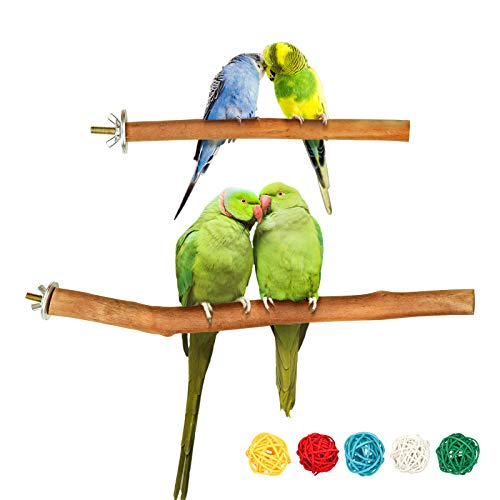 S-Mechanic 2 Pack Parrot Cage Perch,Natural Wood Stand Toys,Pet Bird Perch for Small and Medium Parrots,Suitable for Parakeets,Amazon,Cockatiels,Finch,Mini Macaw,African Grey,Lovebirds