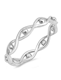 Eternity Infinity Bead Evil Eye Stackable Ring Sterling Silver Band Sizes 2-10