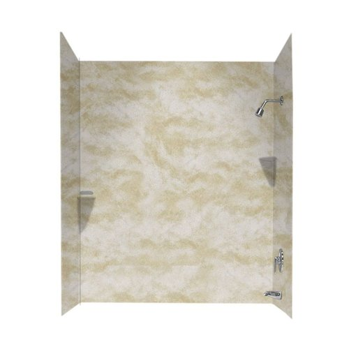 Swanstone SS00723.125 Solid Surface Glue-Up 3 Panel Bathtub Wall Kit, 30-in L X 60-in H X 72-in H, Cloud White