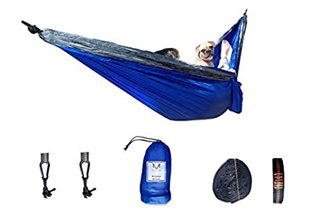 Ultra Lightweight Double Hammock (Blue) - All Inclusive Ripstop Parachute Nylon Hammock for Backpacking, Camping, Outdoors, Travel by Millennial (Ultra Blue)