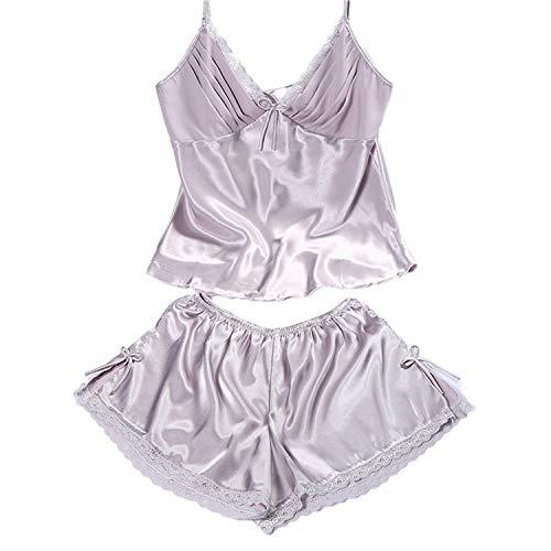 High end Women Sleepwear Sexy Homewear Set Summer Sexy Lace Deep V-neck Camisole Spaghetti Sling Short Pijamas Set Sleepwear