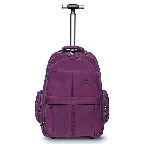 WEISHENGDA 19 inches Waterproof Wheeled Rolling Backpack for Men and Women Business Laptop Travel Bag, Purple ()