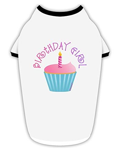 TooLoud Birthday Girl - Candle Cupcake Cotton Dog Shirt White with Black Medium