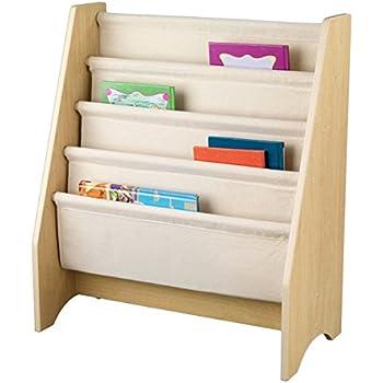 Amazon Com Kids Sling Bookshelf With Storage Bins Natural Natural Baby