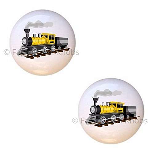 SET OF 2 KNOBS - Traditional Train - Trains Locomotives - DECORATIVE Glossy CERAMIC Cupboard Cabinet PULLS Dresser Drawer KNOBS (Traditional Cupboard)