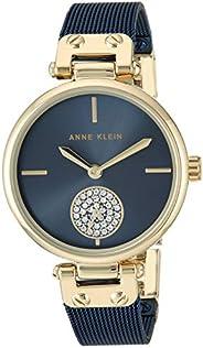 Anne Klein Relógio feminino de pulseira de malha com detalhes de cristal Swarovski