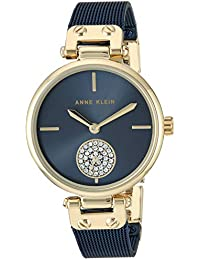 Women's AK/3001GPBL Swarovski Crystal Accented Gold-Tone and Blue Mesh Bracelet Watch