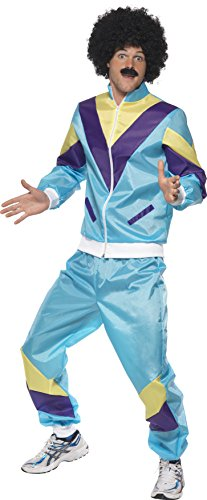 Smiffy's Men's 80's Height Of Fashion Shell Suit Costume with Jacket and Trousers, Multi, Medium - Eighties Fashion Costume
