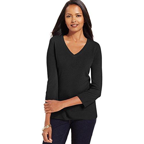 Karen Scott Womens 3/4 Sleeves Ribbed Trim V-Neck Sweater Black (Scott V-neck Cardigan)