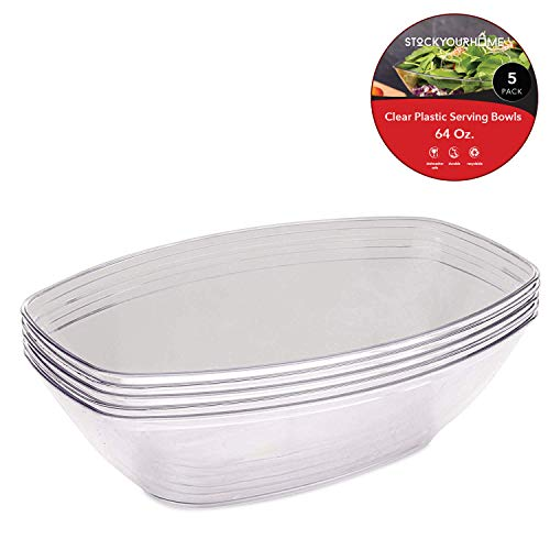 64 Oz. Clear Plastic Serving Bowls (5 Pack) Oval Disposable Serving Bowls for Parties - Large Plastic Bowls for Salad, Snacks, Chips, Pretzels, Candy