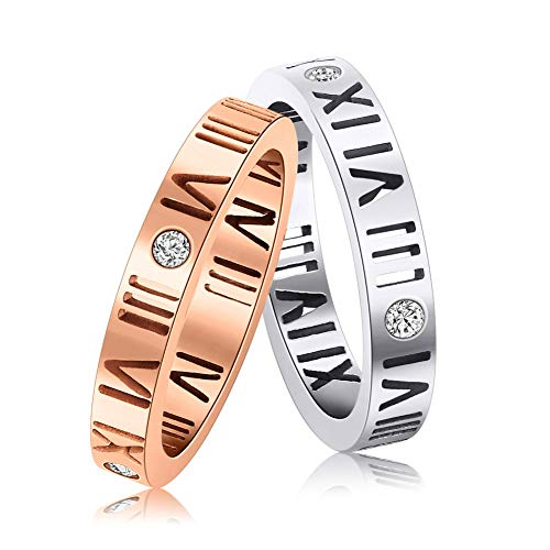 - FelixFete Stainless Steel CZ Roman Numeral Ring Women Girls Silver Size 6