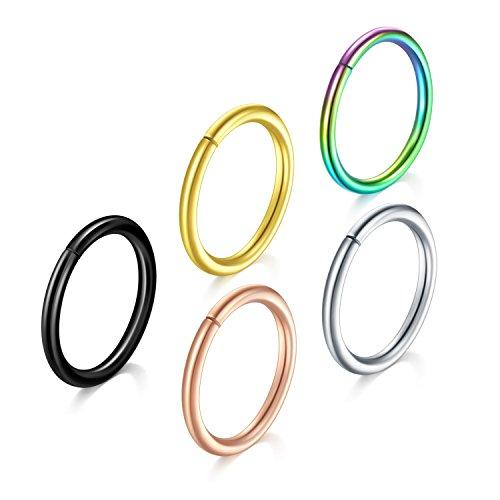 Nose Hoop Ring, 5PCS 16G 316L Surgical Stainless Steel Incaton Body Jewelry Piercing Lip Rings Seamless,Tragus Hoop - Lip Hoop 16g Rings