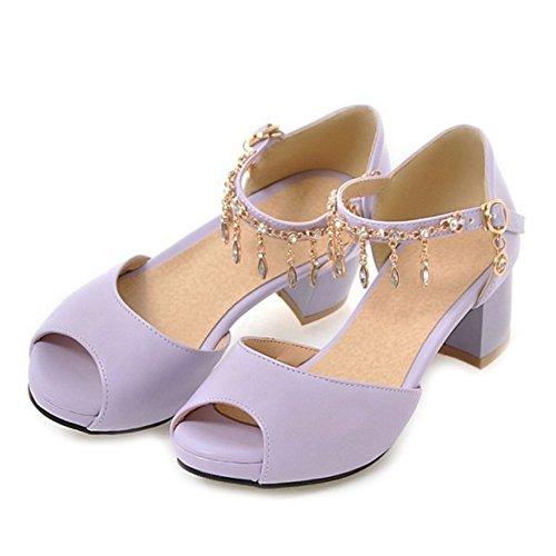grande violet et talon SJJH ouvert habillées femmes taille bout épais pour cheville à à Sandales à de et brillante bride Chaussures qRSU4A