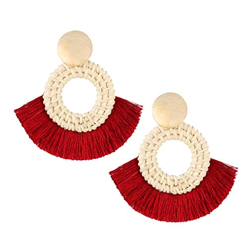 - Tassel Earrings for Women Handmade Rattan Wicker Hoop Drop Dangle Geometric Statement Earrings (Red)
