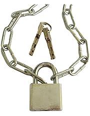 Stalen ketting met 40 mm slot & 4 sleutels (ketting verzinkt 3,5 mm x 28 mm x 14 mm dikte van de lededikte 40 mm breed hangslot) per meter 50 cm tot 800 cm -lengte naar keuze - (50 cm = 0,5 meter)