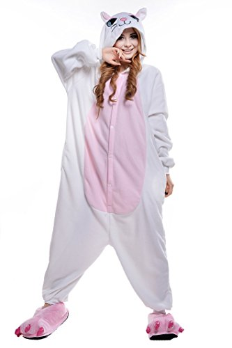 NEWCOSPLAY Unisex Adult Cosplay Pyjamas Cat Halloween Costume (M, White Cat)