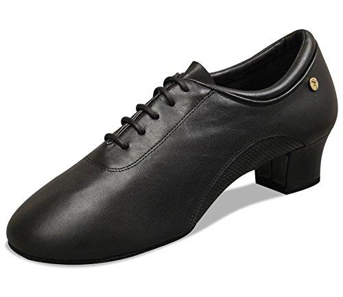 """Aplus Damen Damen Ballroom Dance Schuhe A3012 mit 1,5 """"Ferse Schwarzes Leder"""