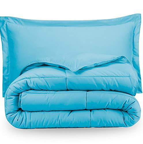 Hemau Comforter Set - Twin/Twin Extra Long - Goose Down Alternative - Ultra-Soft - Premium 1800 Series - Hypoallergenic - All Season Breathable Warmth (Twin/Twin XL, Aqua) | Style -