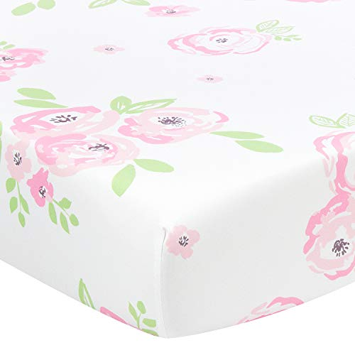 TILLYOU Microfiber Floral Crib Sheet for Girls, Silky Soft Flower Toddler Sheets Printed, All Seasons Use Cozy Hypoallergenic Baby Sheets for Standard Crib and Toddler Mattress, 28 x 52in