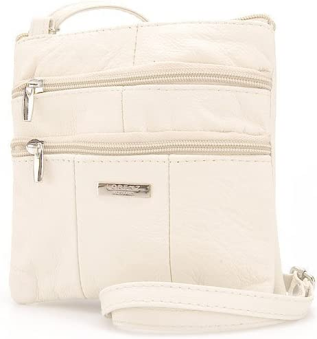Lorenz Womens Ladies Cream Cow Hide Leather Twin Zipped Small Bag W02//3766 by Classyshades