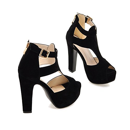 Summer Sandals Black Back Heel Peep Zip High Womens Toe Lucksender xwg0pFaqg