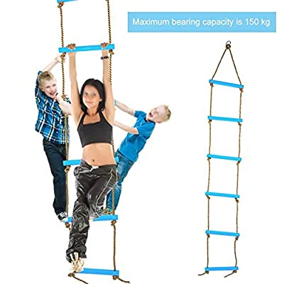 Senyar Kids Climbing Rope Ladder, Outdoor Plastic Six-Section Children Kids Rope Climbing Ladder Toy Exercise Equipment(Blue): Home & Kitchen