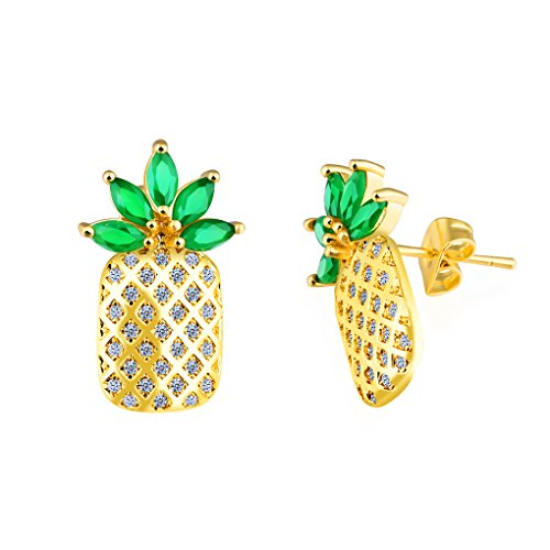 Pineapple Stud Earrings Studded Cubic Zirconia Cute Unique Spring Piercing Post Earrings For Beach Women