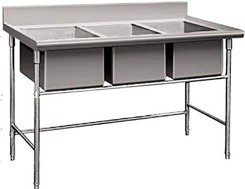 3 Compartment Commercial Stainless Steel Underbar Sink Wash Basin Table