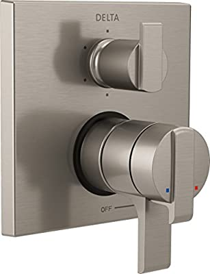 Delta Faucet T27967-SS Ara Angular Modern Monitor 17 Series Valve Trim with 6-Setting Integrated Diverter, Stainless
