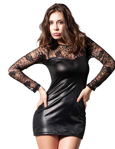 KemissLan Leather Lingerie for Women, Women Long Sleeve Lingerie Plus Size Lace Leather Skirt for Ladies (Amazon FBA)