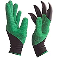 Skycandle Garden Gloves with Right Hand Fingertips ABS Plastic Claws for Pruning, Digging & Planting, One Size Fits All Unisex, Washable (One Pair)