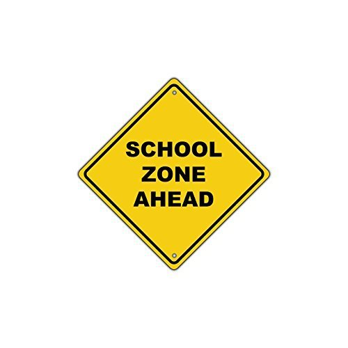 Ballkleid Decoration Plaque Sign School Zone Ahead Crossing Traffic Road Sign Retro Metal Safety Gift