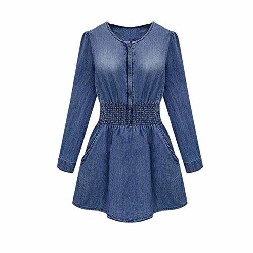 Bluestercool Frauen Jahrgang Frühjahr/Herbst Langarm Slim Casual Denim Jeans Party Minikleid