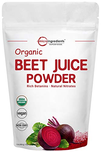 Organic Beet Root Juice Powder, 1 Pound, Natural Nitrates for Energy Booster, Best Superfoods and Flavor for Beverage and Smoothie, No Irradiated, No Contaminated, No GMO and Vegan Friendly
