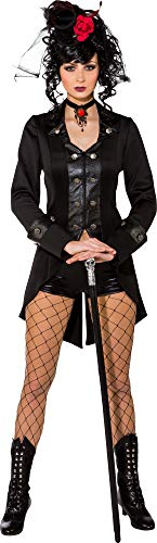 Ladies Deluxe Gothic Vampire Madam Horror Halloween Steampunk Fancy Dress Costume Outfit (UK 6-8 (EU34/36))]()