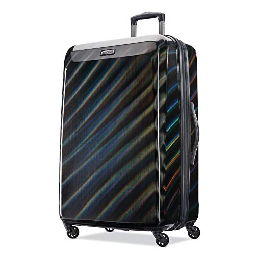 American Tourister Moonlight Hardside Expandable Luggage with Spinner Wheels, Iridescent Black, Checked-Large 28-Inch