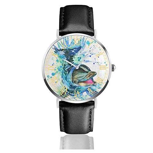 Watercolor Funny Dolphin Mens Watches Chronograph Sports Watch Water Resistance Quartz Black Clock Business Wristwatch with Leather Strap Watch for Women Girls Boys 38mm/1.5