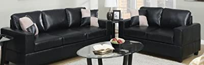 Poundex F7598 Black Bonded Leather Living Room Sofa Set