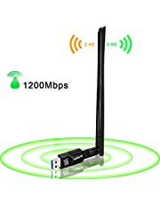 USB WiFi Adapter 1200Mbps,USB 3.0 Wireless Network WiFi Dongle with 5dBi Antenna for PC Desktop Laptop Mac, Dual Band 2.4G/5G 802.11ac,Support Windows 10/8/8.1/7/Vista/XP/2000, Mac10.6-10.15