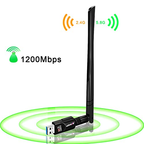 USB WiFi Adapter 1200Mbps,USB 3.0 Wireless Network WiFi Dongle with 5dBi Antenna for PC Desktop Laptop Mac, Dual Band 2.4G/5G 802.11ac,Support Windows 10/8/8.1/7/Vista/XP/2000, Mac10.6-10.14