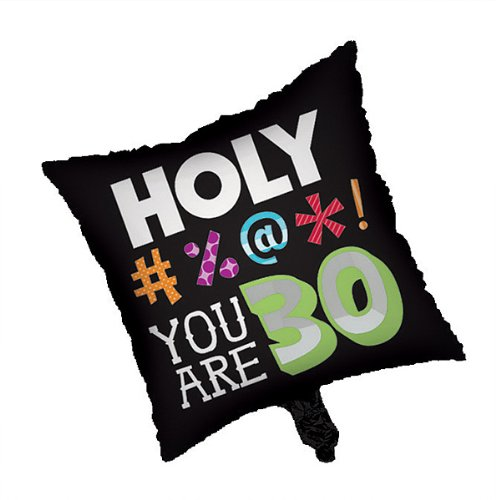 (Creative Converting 043014 Metallic Balloon Square 30th Holy Bleep 12 Counts)