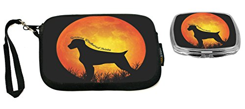(Rikki Knight German Wirehaired Pointer Dog Silhouette By Moon Design Neoprene Clutch Wristlet with Matching Square Compact Mirror)