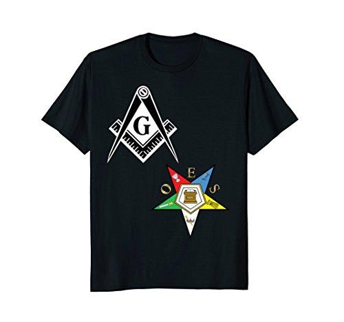 Mens OES Mason Split Long T Shirt Masonic Eastern Star Tee Black