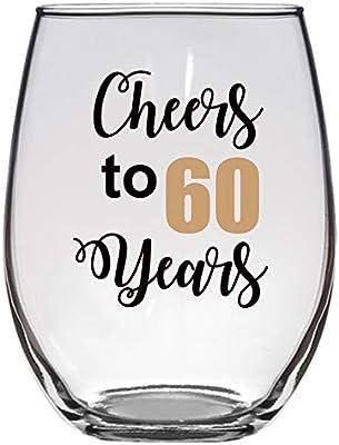 Amazon.com: Cheers to 60 Years Copa de vino de 21 onzas, 60 ...
