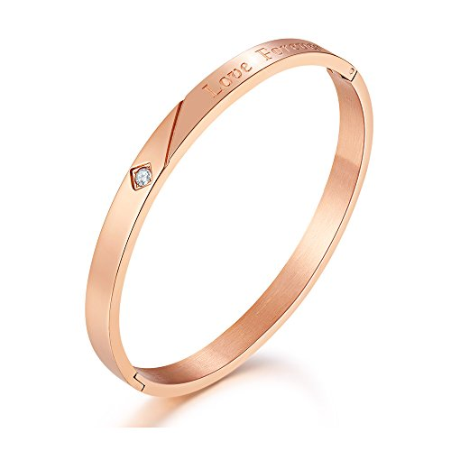 MVCOLEDY Mocalady Jewelry Love Forever Rose Gold Bangle Bracelet Stainless Steel with Crystal Fashion Jewelry Lover Gift for Women for Her ()