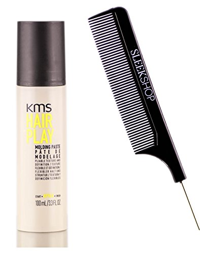 KMS Hair Play Molding Paste, pliable texture and definition (with Sleek Steel Pin Tail Comb) (3.3 oz / travel (Hair Play Molding Paste)