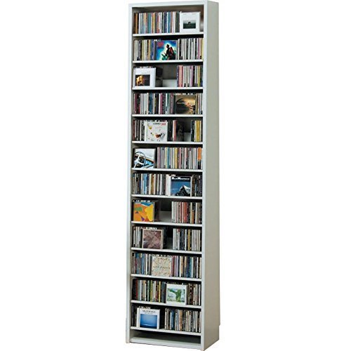 540枚収納 CD屋さんのCD/DVDラック 幅48.5cm インデックスプレート10枚付き(ホワイト W) B006JFFC58