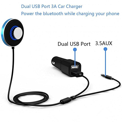 Wingco Bluetooth 4.0 Receiver Dual Port Car Charger + Magnetic Mounts + Built-in MIC & 3.5mm Aux Cabl Car,Speakerphone, Wireless Hands-free Talking&Music Car Kit, Mini Bluetooth Adapter
