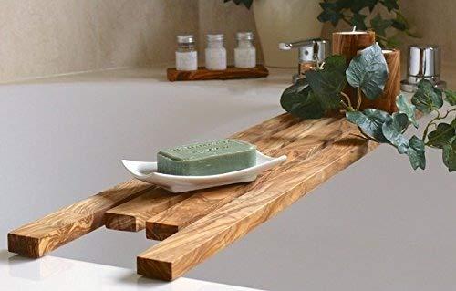 Bathtub caddy 90 cm / 35.5 inch in olive wood by DOM